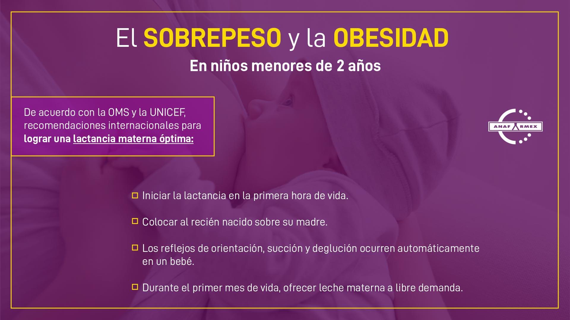 Recomendaciones internacionales para lograr una lactancia materna óptima.